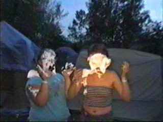 Two girl shaving cream piefight part I