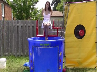 Megan Dunked In a white skirt & top  & pantyhose Preview