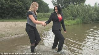 EE Wetlook, sample of Melanie & Kim in lake in officewear