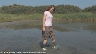 EE Wetlook, sample of Cindy in skirt in muddy pond