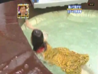 Japanese girl into the rotion oil pool.