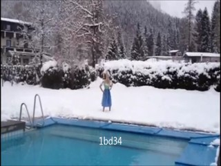 Girl jumps in pool