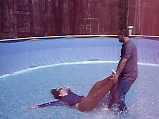 Pulling Jennifer around in the pool