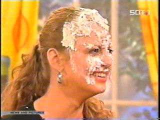 women caked on TV show