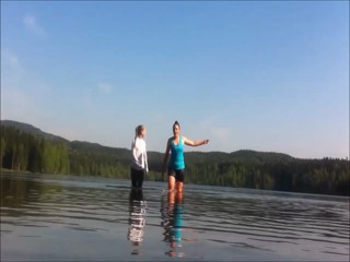 Splash and swimming in a lake
