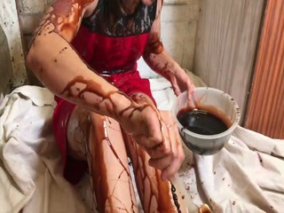 Very Sexy Messy Girl playing with Chocolate and Cream