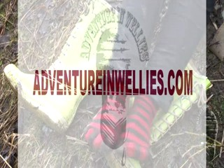 Fun on a muddy slope. Adventure with mud, Vikings & stripy socks